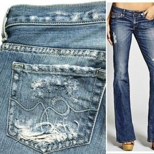 Guess Premium Foxy Flare Leg Low Rise Distressed M